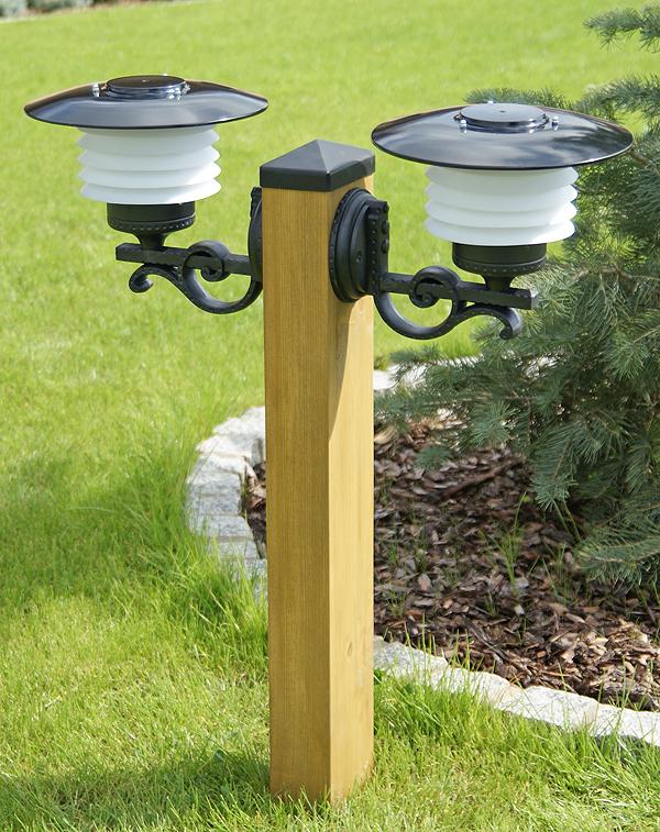Lampa Ogrodowa Drewniana Z Kloszami Nr 1